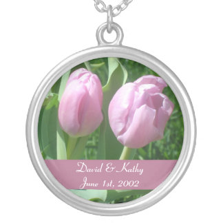 Pink Tulips Flower Necklace