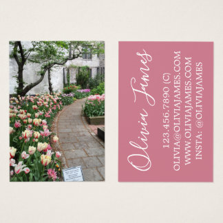 Pink Tulips Garden Pathway Nature Photo Flowers Business Card