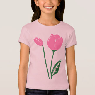Pink Tulips Girls' Babydoll T-Shirt