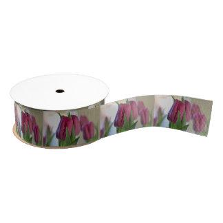 Pink Tulips Grosgrain Ribbon
