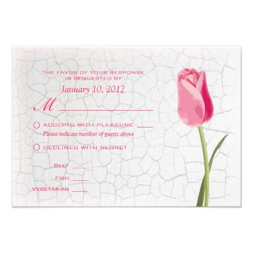 Pink Tulips on Crackle Paint RSVP w/ Meal Options Invite