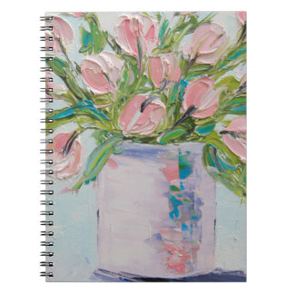 Pink Tulips Painting, Tulip Art, Textured Flowers Notebook