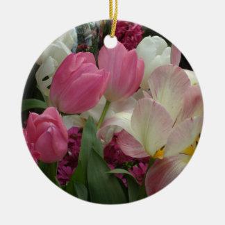 Pink Tulips Pink Hyacinths Round Ceramic Ornament