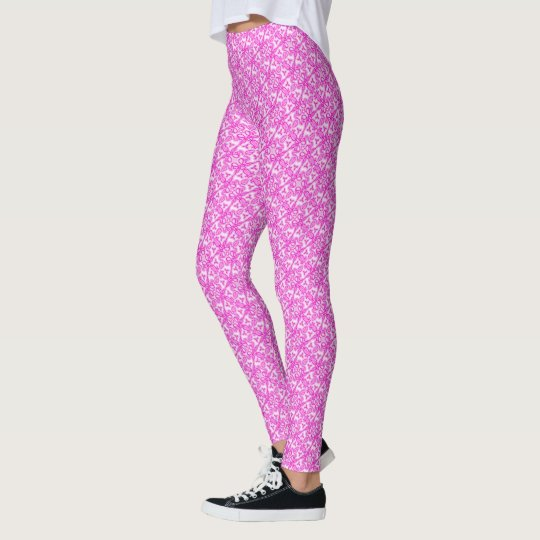 Pink tulips twisted damask leaves pattern leggings