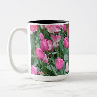 Pink Tulips Two-Tone Coffee Mug