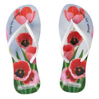 Pink Tulips with Blue Sky Floral Photography Flip Flops