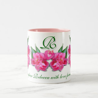 PINK TULIPS  WITH HEART ~ Mug