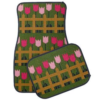 Pink Tulips Wood Fence Green Crochet on Mat Set Car Floor Carpet