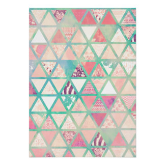 Pink Turquoise Abstract Floral Triangles Patchwork Poster