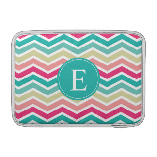 Pink Turquoise Chevron Monogram MacBook Air Sleeve