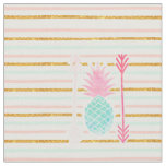 Pink Turquoise Exotic Pineapple Stripes Arrows Fabric