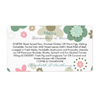 pink turquoise flowers meadow wedding menu shipping label