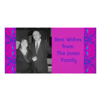 pink turquoise fractal customized photo card