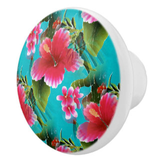 Pink Turquoise Hawaiian Hibiscus Flowers Pattern Ceramic Knob