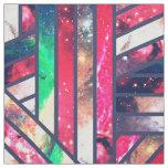 Pink Turquoise Nebula Galaxy Girly Stripes Pattern Fabric