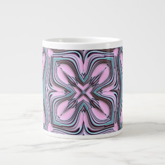 Pink turquoise pattern large coffee mug