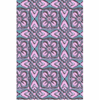Pink turquoise pattern standing photo sculpture