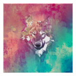 Pink Turquoise Watercolor Artistic Abstract Wolf
