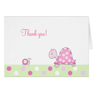 Pink Turtle and Snail Folded Thank you notes