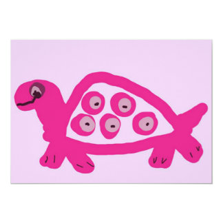 "Pink Turtle Birth Announcements 5"" X 7"" Invitation Card"