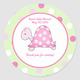 Pink Turtle Green/Pink Dot Custom Favor Sticker