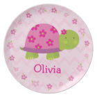 Pink Turtle Personalized Melamine Plate for Kids