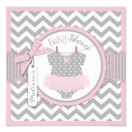 Pink Tutu & Chevron Print Baby Shower Personalized Invites