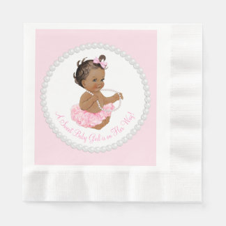 Pink Tutu Ethnic Ballerina Pearl Baby Shower Paper Napkins
