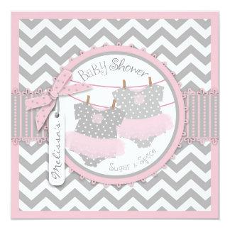 Pink Tutus & Chevron Print Twin Girls Baby Shower Personalized Invitations