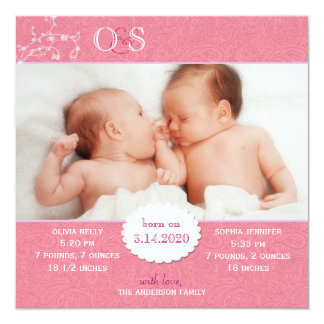 Pink Twin Girls Photo Birth Announcement