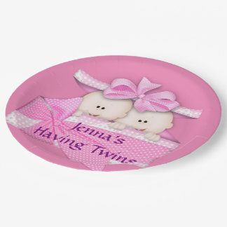Pink Twins Baby Shower Party Paper Plates