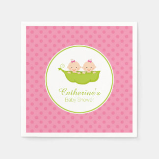 Pink Two Peas in Pod Baby Shower Paper Napkin