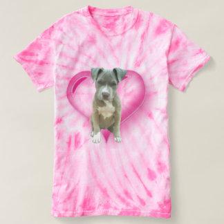 Pink tye dye Blue pitbull puppy t-shirt