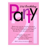 Pink Type 21st Birthday Party Invitation