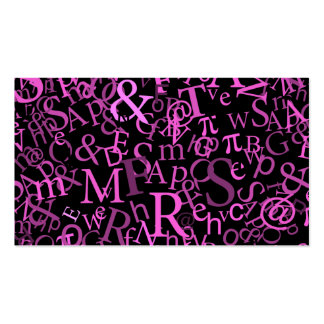 Pink Typographic Art Business Card