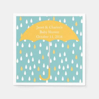 Pink Umbrella and Rain Baby Shower Paper Napkins