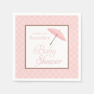 Pink Umbrella Baby Shower napkins