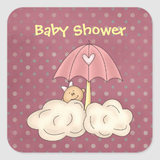 Pink Umbrella Baby Shower Stickers