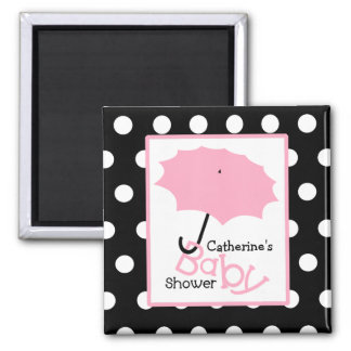 Pink Umbrella Baby Shower - White Polka Dots Magnet