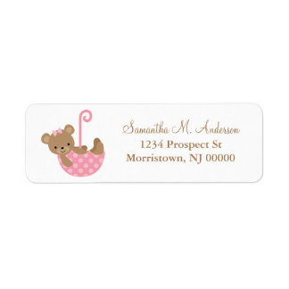 Pink Umbrella Bear Baby Shower Return Address Label
