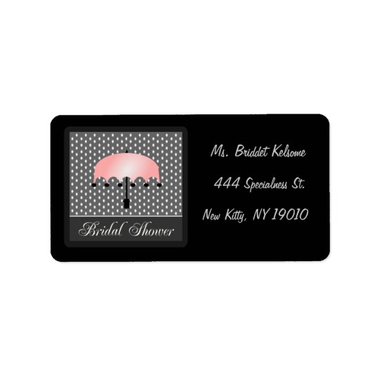 Pink Umbrella Bridal Shower Address Label