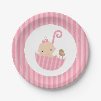 Pink Umbrella Girl Baby Shower Paper Plate