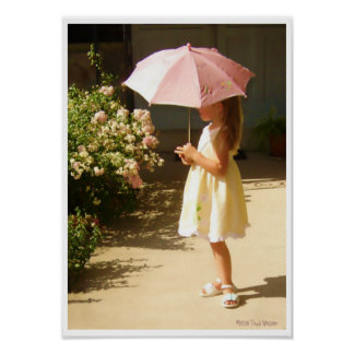 Pink Umbrella Girl Poster
