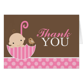 Pink Umbrella Thank You Card