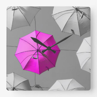 Pink Umbrella Wall Clock