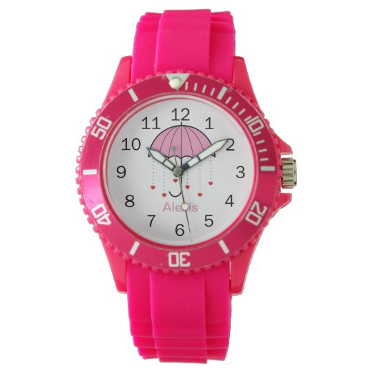 Pink Umbrella with Hearts Watches