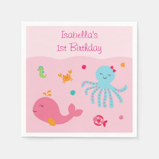 Pink Under the Sea Baby Shower Paper Napkins