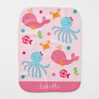Pink Under the Sea Burp Cloth
