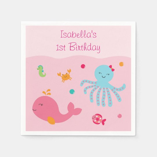 Pink Under the Sea Personalized Napkins Paper Napkins