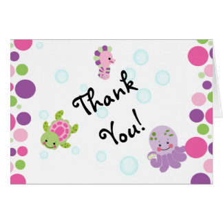 Pink under the sea thank you cards! card